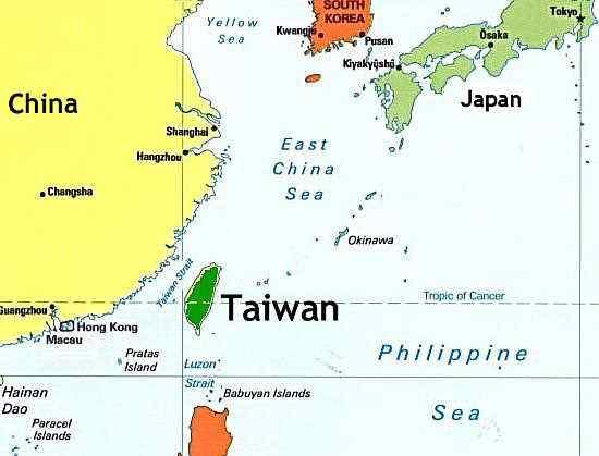 نهخشهكه ههڵكهوتهی جوگرافی تایوان نیشان دهدات