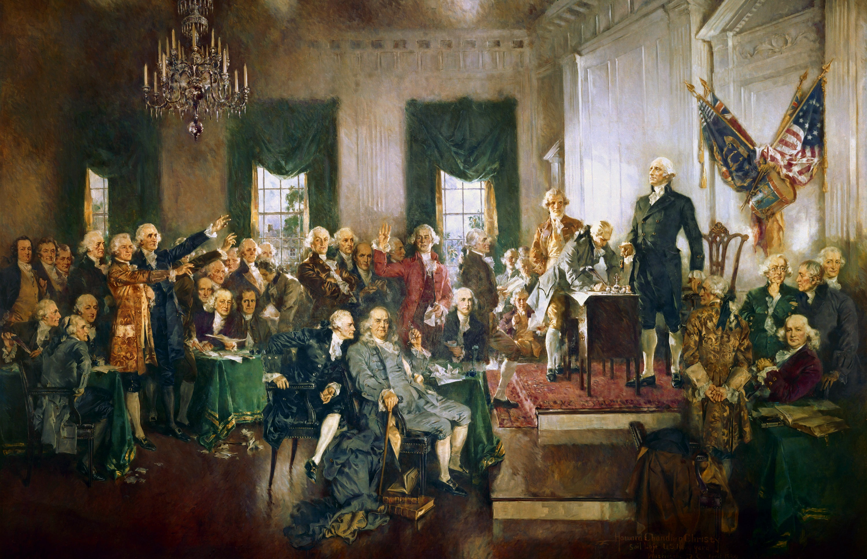 وێنهیهكی كێشراوی كۆنگرهی فلادلفیا ناسراو به كۆنگرهی دهستوریى ـ 1787